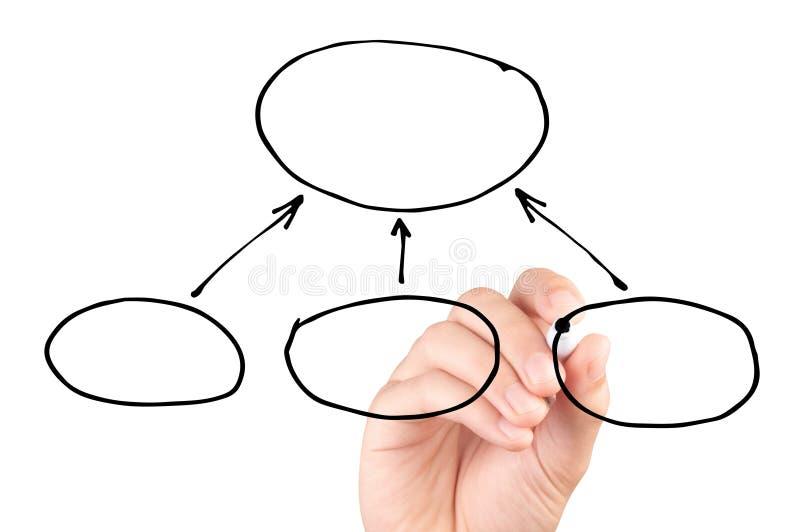 Hand die een leeg geïsoleerd diagram trekken op witte achtergrond royalty-vrije stock foto