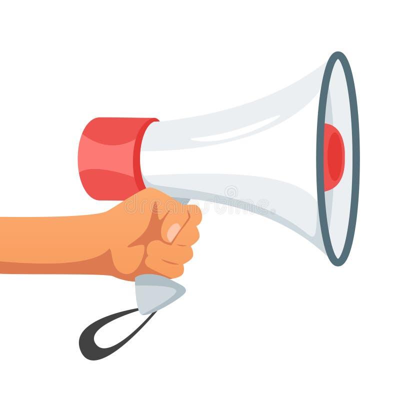 Hand die een luide spreker houden stock illustratie