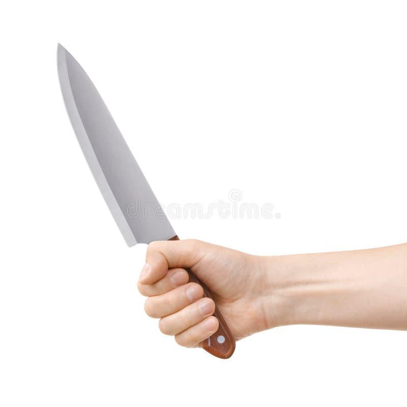 Hand die een mes houden royalty-vrije stock foto's