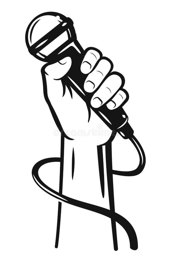 Hand die een microfoon houden stock illustratie