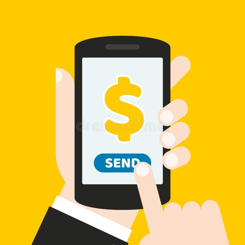 Hand die een mobiele telefoon met een pictogram en een knoop houden De vinger raakt het scherm Het kan voor een website, mobiele  vector illustratie