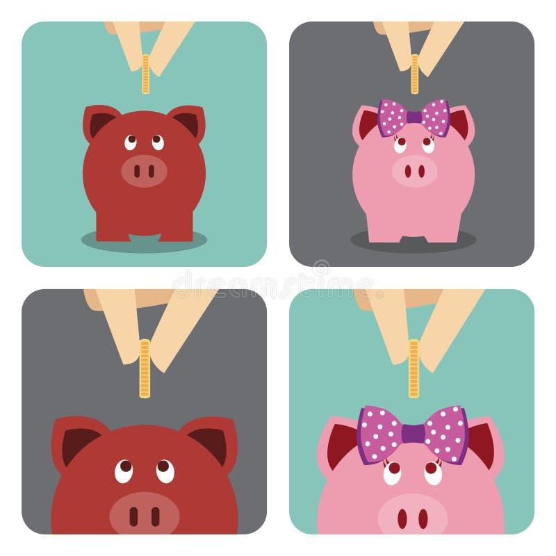 Hand die een muntstuk zetten in spaarvarken royalty-vrije illustratie