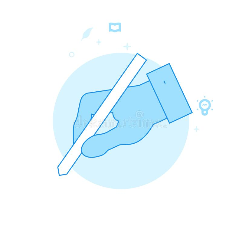 Hand die een Potlood Vlakke Vectorillustratie, Pictogram houden Lichtblauw Zwart-wit Ontwerp Editableslag royalty-vrije illustratie
