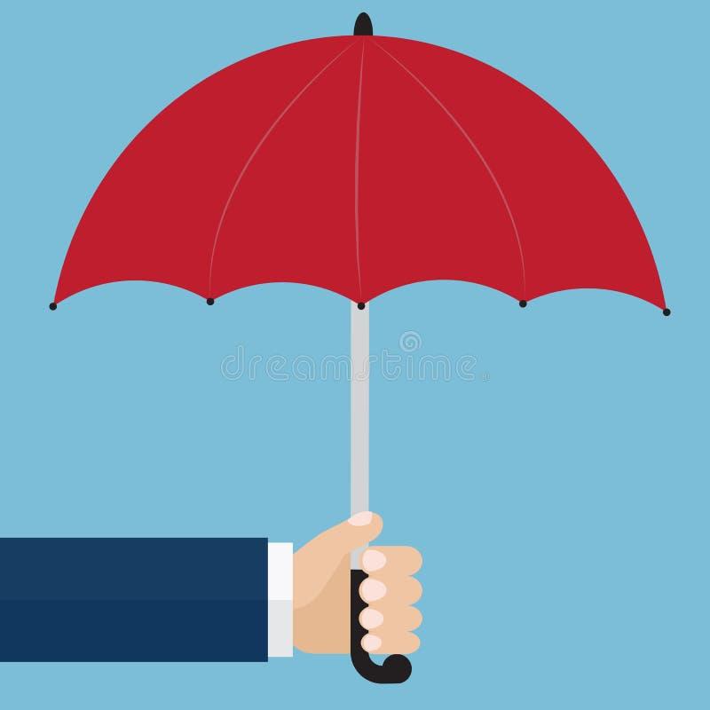 Hand die een rode paraplu houden Het concept van de bescherming Vectorillustra stock illustratie