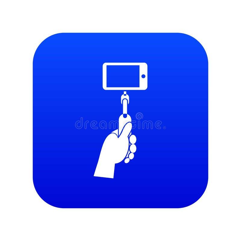 Hand die een selfiestok met mobiel telefoonpictogram houden digitaal blauw royalty-vrije illustratie