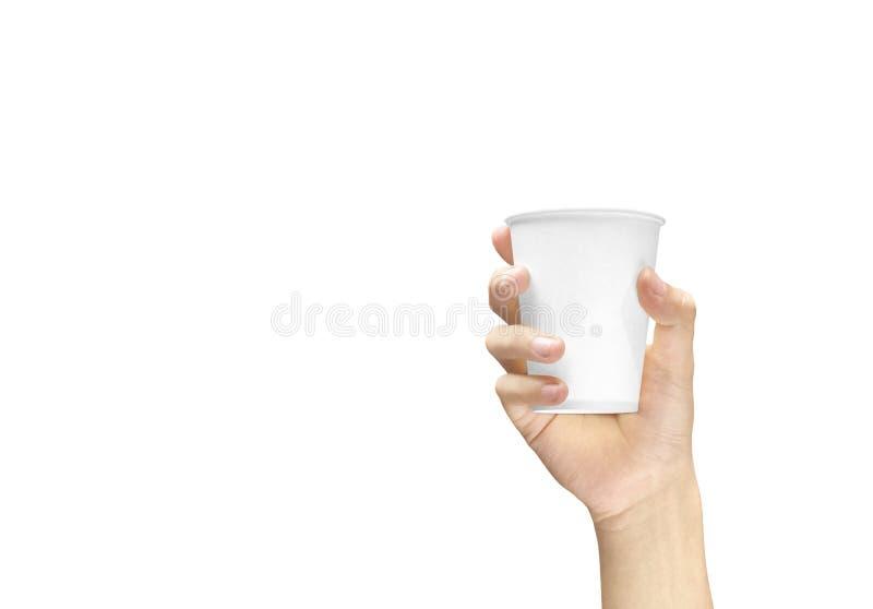 Hand die een storaxschuimkop met koffie houden royalty-vrije stock afbeelding