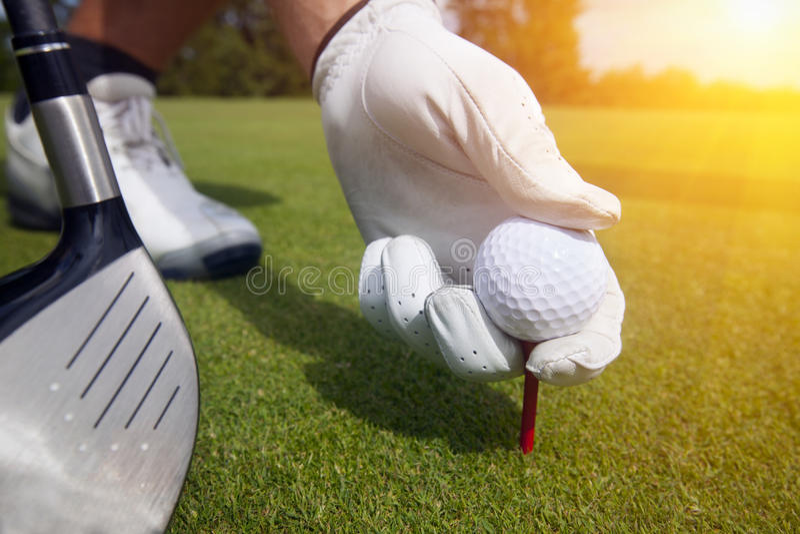 Hand die een T-stuk met golfbal plaatsen royalty-vrije stock afbeeldingen