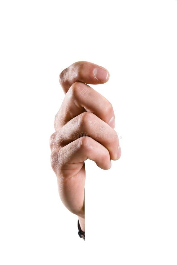 Hand die een teken houdt stock foto