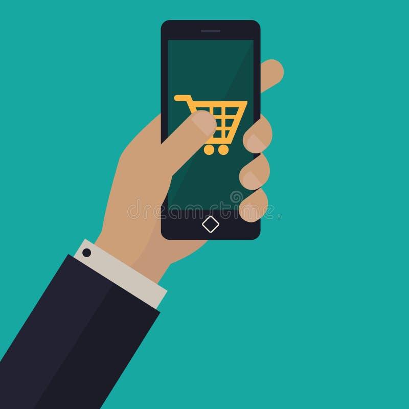 Hand die een telefoon houdt Vlak Ontwerp royalty-vrije stock foto's