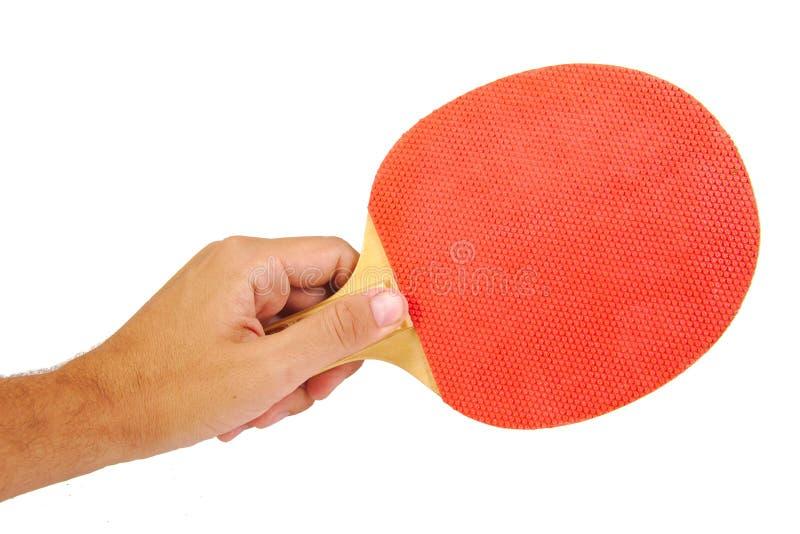 Hand die een tennisracket houden die op wit wordt geïsoleerd royalty-vrije stock fotografie