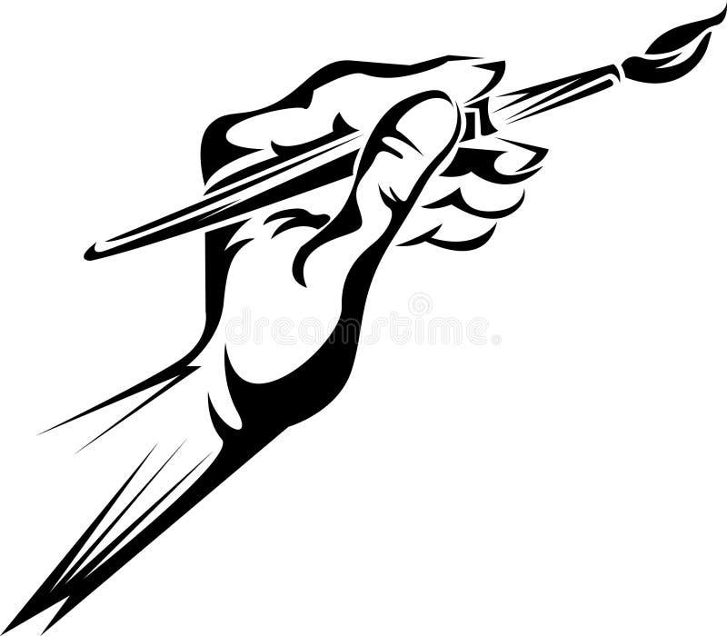 Hand die een verfborstel houdt stock illustratie