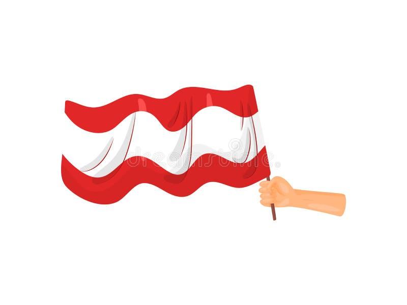 Hand die een vlag houdt Vector illustratie op witte achtergrond vector illustratie