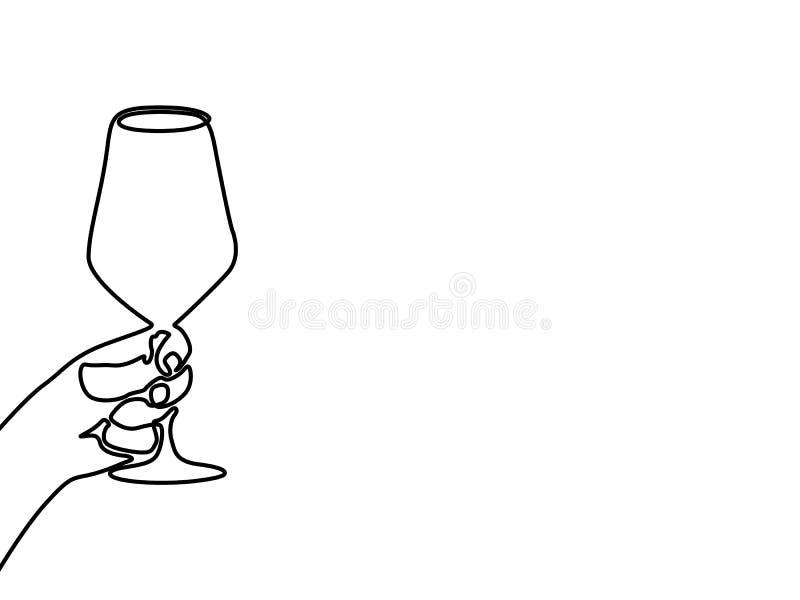 Hand die een wijnglas houden Ononderbroken lijn één tekening vector illustratie