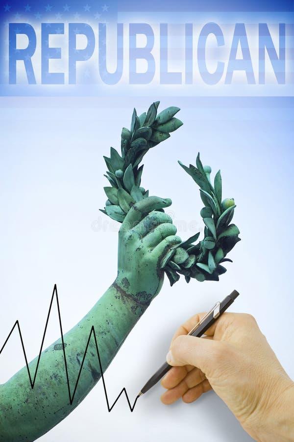 Hand, die ein Diagramm über Präsidentschaftswahlen Vereinigter Staaten zeichnet lizenzfreies stockfoto