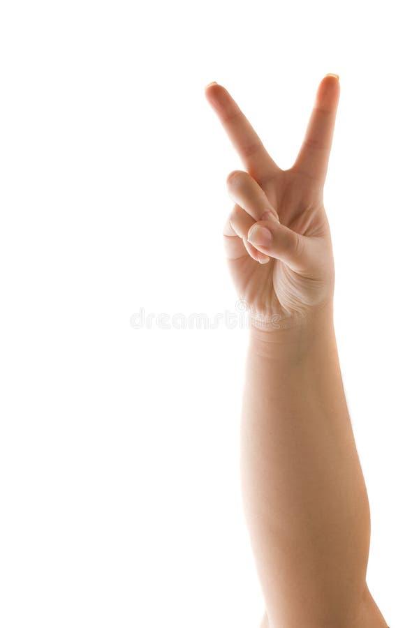 Hand, die ein Friedenszeichen zeigt lizenzfreies stockfoto
