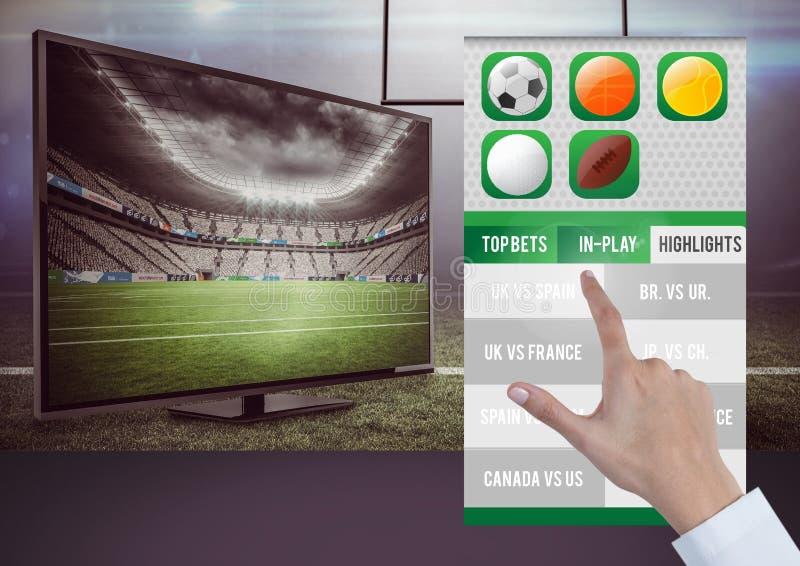 Hand, die ein wettendes APP-Schnittstellenfernsehen berührt vektor abbildung