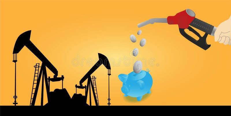 Hand, die eine Öldüse hält stock abbildung