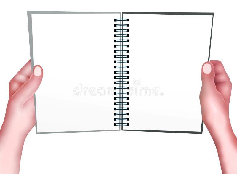 Hand, die eine gelbe Farbe des gewundenen Notizblockes anhält lizenzfreie abbildung