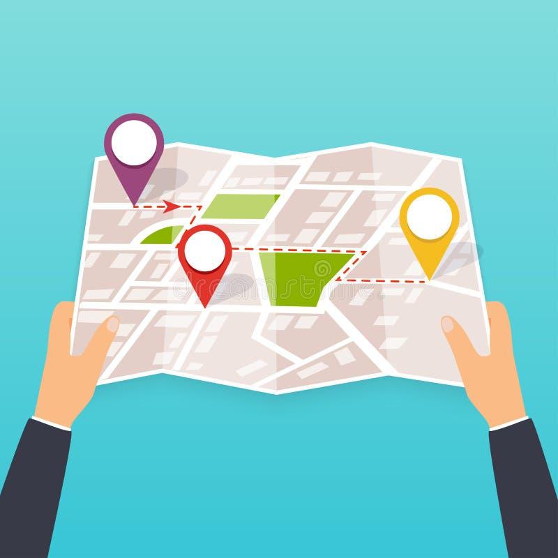 Hand, die eine Papierkarte mit Punkten hält Touristischer Blick auf Karte von lizenzfreie abbildung