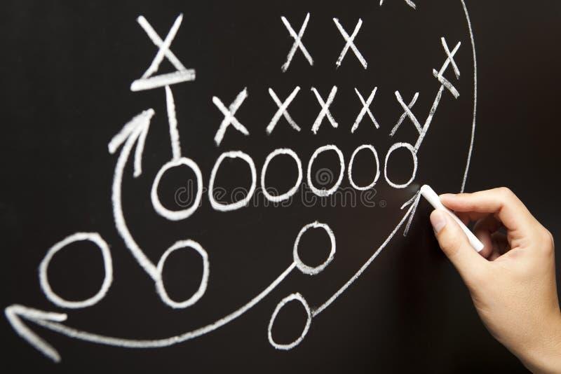 Hand, die eine Spielstrategie zeichnet stockbild