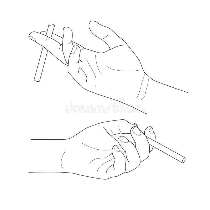 Hand, die eine Zigarette, Vektorillustration hält lizenzfreie abbildung