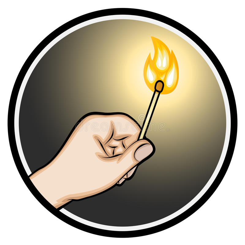Hand, die einen beleuchteten Matchstick hält lizenzfreie abbildung