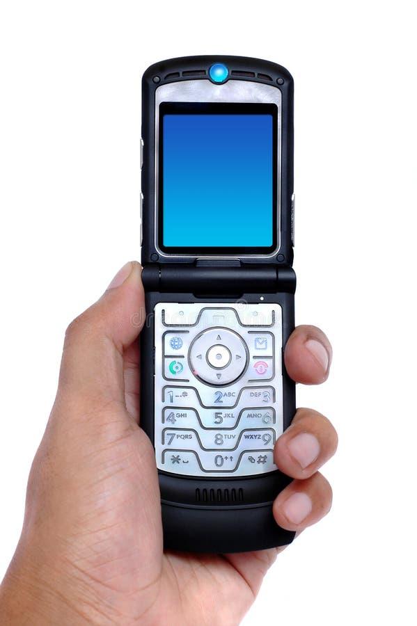 Hand, die einen Handy anhält lizenzfreies stockbild