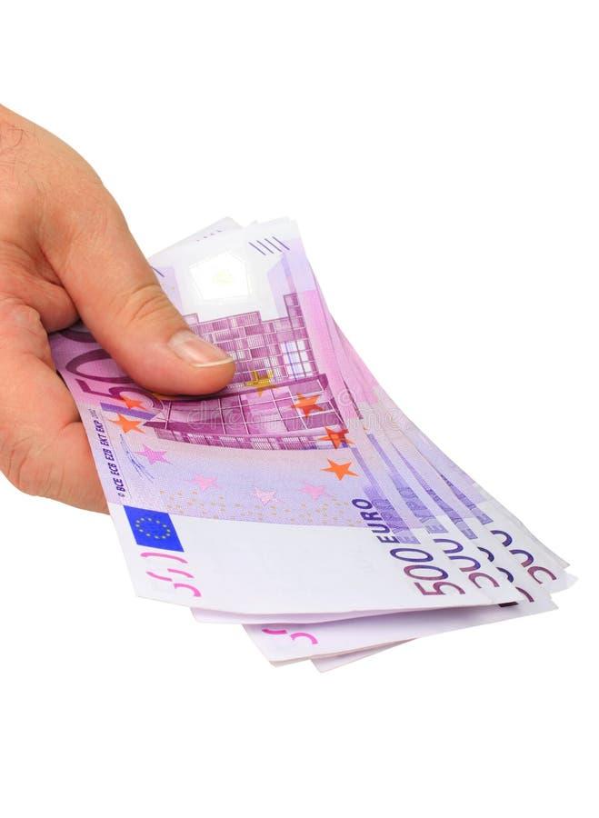Hand die euro nota's houdt royalty-vrije stock afbeeldingen