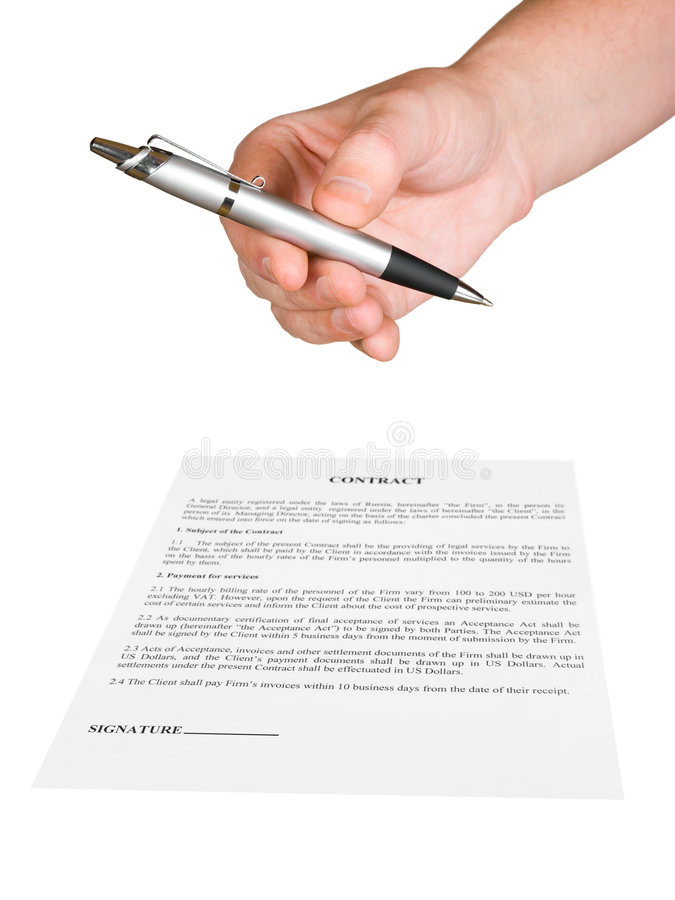 Hand, die Feder und Vertrag gibt stockfotos