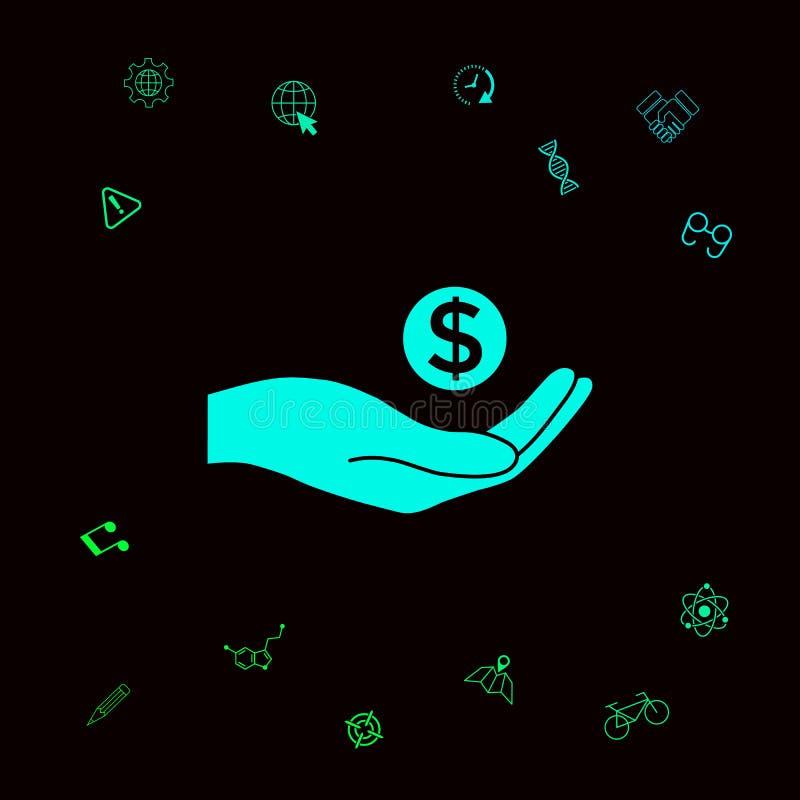 Hand, die geld- Dollarsymbol hält Grafische Elemente für Ihr designt stock abbildung