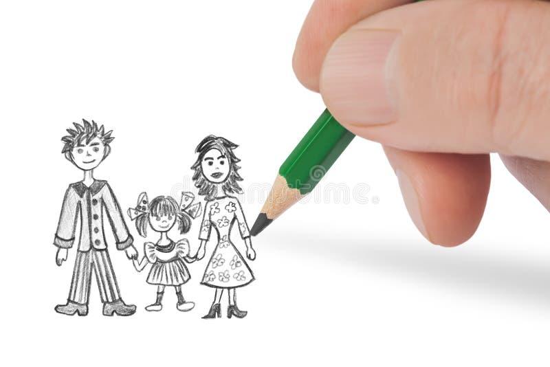 Hand die gelukkige familie trekken mijn beeld royalty-vrije illustratie