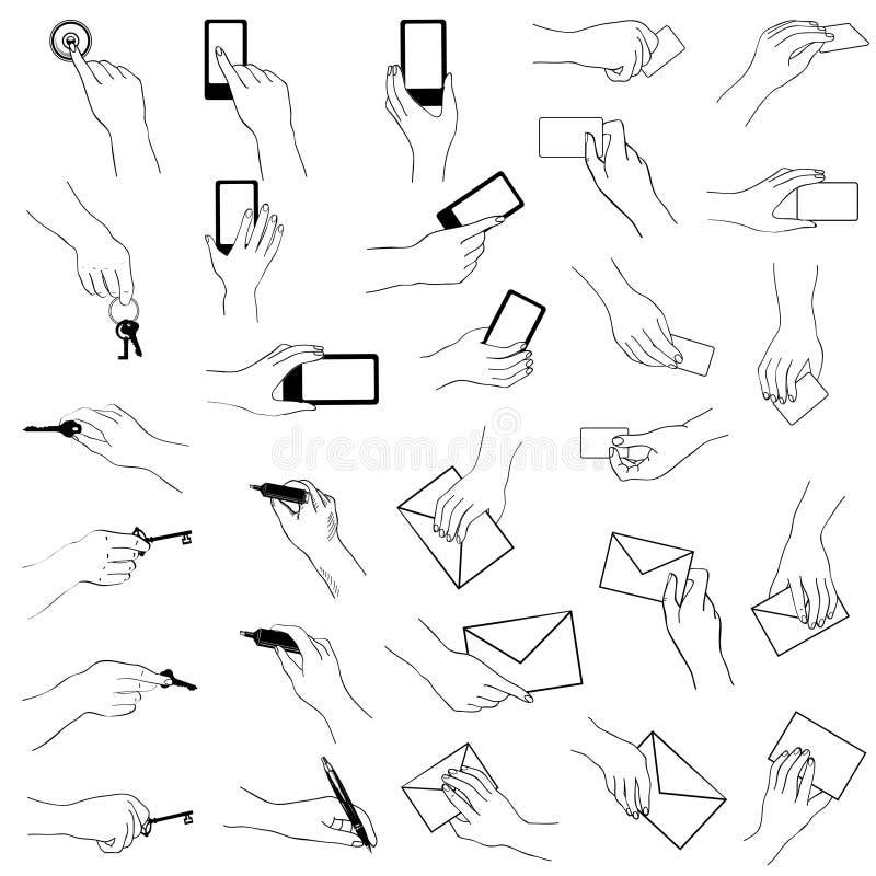 Hand, die Gestensammlung hält vektor abbildung