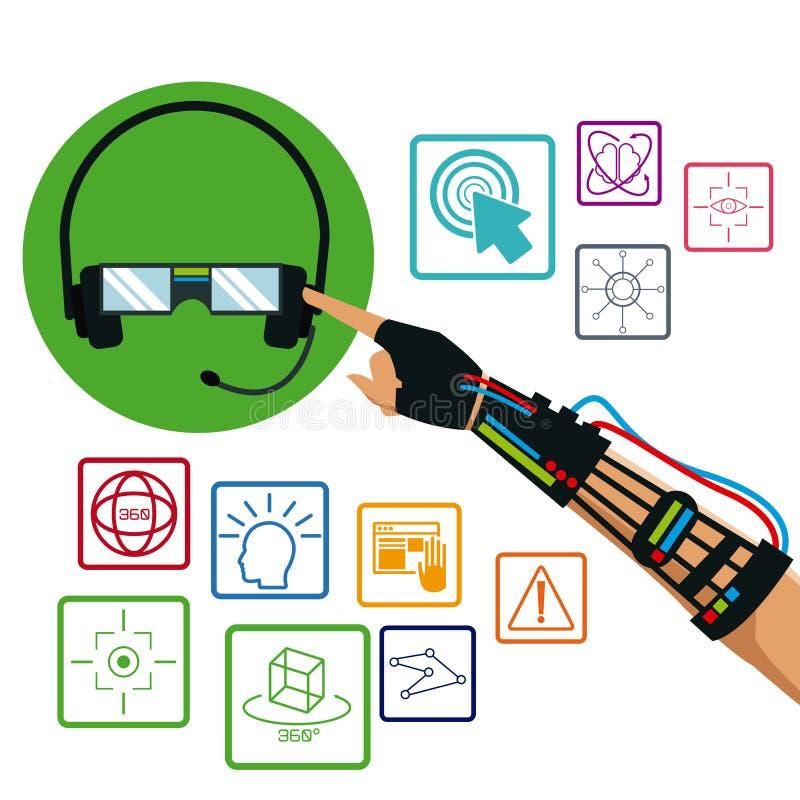 Hand die getelegrafeerde de technologiepunten gebruiken van de handschoenhoofdtelefoon vr royalty-vrije illustratie