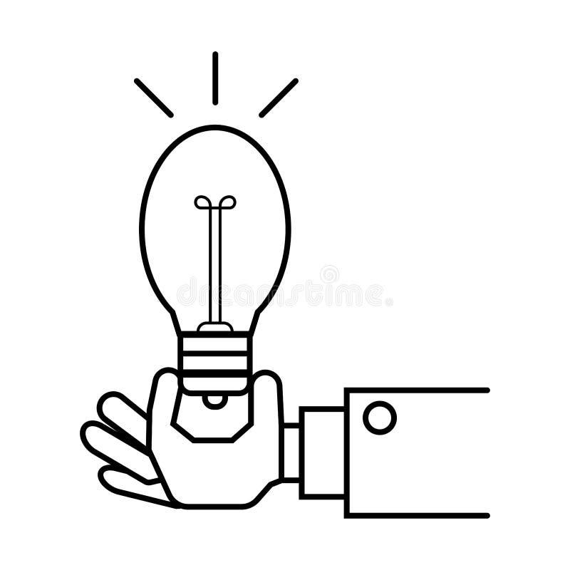 Hand, die Glühlampezeichen hält stock abbildung