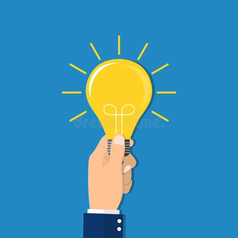 Hand die gloeilamp houdt Bedrijfs ideeconcept vector illustratie