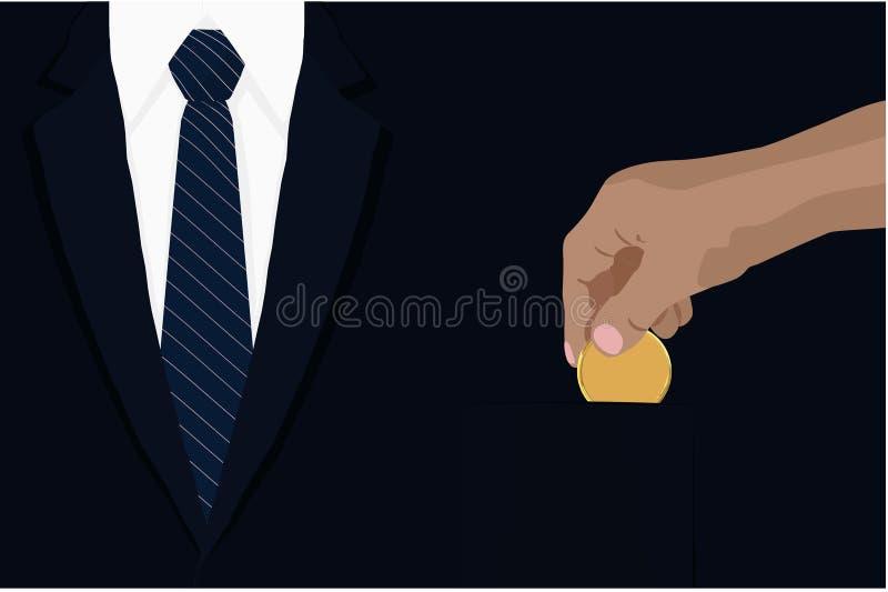 Hand, die goldene Münze herein setzend, um Konzept Marineblau brazer Tasche abzustreifen Vektorillustrationsfinanzgeld-Einsparung lizenzfreie abbildung