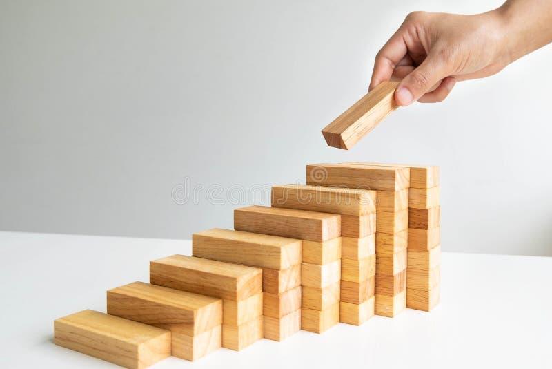 Hand, die hölzernen Block mit Architekturmodell, planendem alternativem Risiko und Strategie im Geschäftskonzept hält lizenzfreie stockfotografie