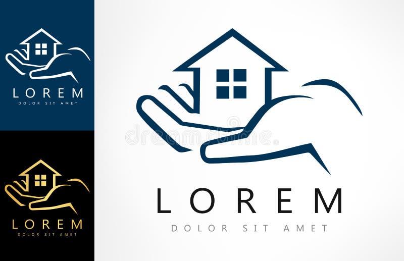 Hand, die Hauslogo hält Haus-Vektor Real Estate Logo Design vektor abbildung