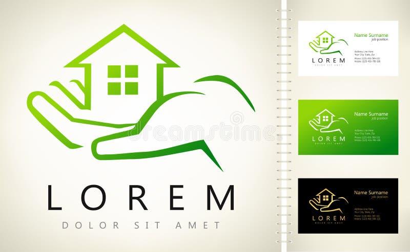 Hand, die Hauslogo hält Haus-Vektor Real Estate Logo Design lizenzfreie abbildung