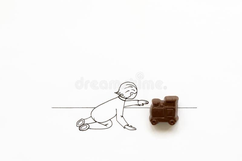 Hand die het leuke beeldverhaalbaby spelen met het stuk speelgoed van de chocoladetrein trekken Het concept van de minimale, crea vector illustratie