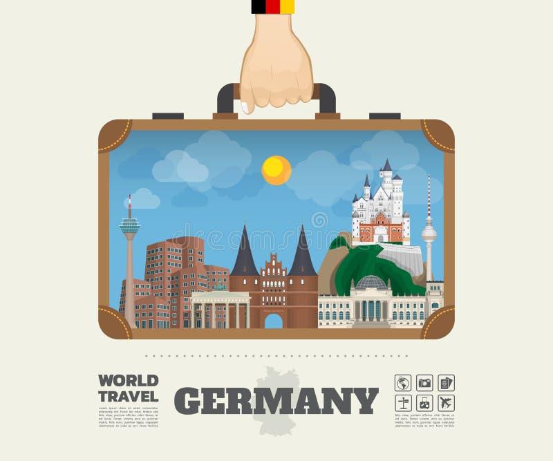 Hand die het Oriëntatiepunt Globale Reis en Reis Infogra dragen van Duitsland royalty-vrije illustratie