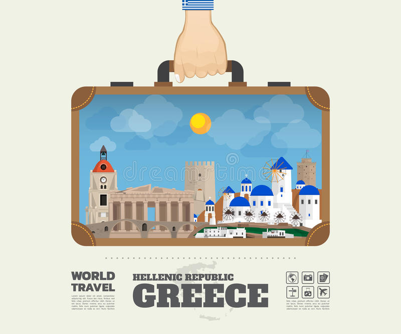 Hand die het Oriëntatiepunt Globale Reis en Reis Infograp dragen van Griekenland royalty-vrije illustratie