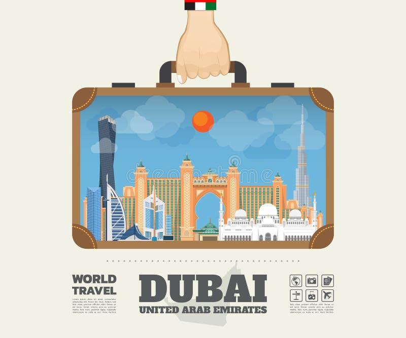 Hand die het Oriëntatiepunt Globale Reis en Reis Infograph dragen van Doubai royalty-vrije illustratie
