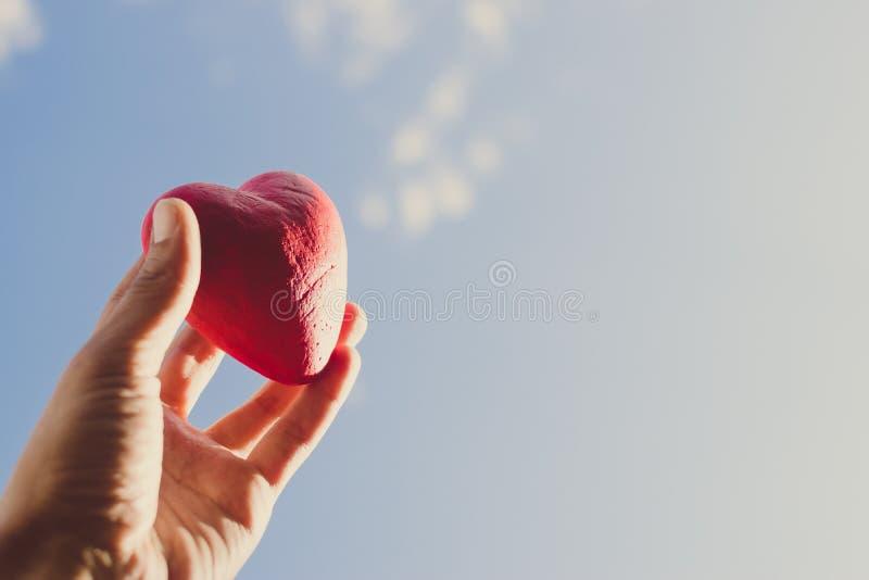 Hand die het rode decoratieve hart houden tegen de blauwe hemel Dag van donor Het concept van de liefde royalty-vrije stock foto