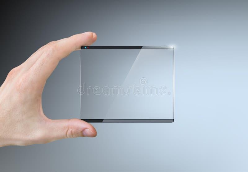 Hand die het transparant aanrakingsscherm houden stock foto's