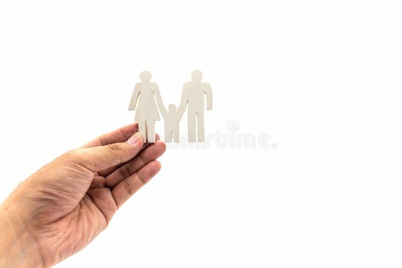 Hand die het witte concept van het Familiepictogram houden stock afbeeldingen