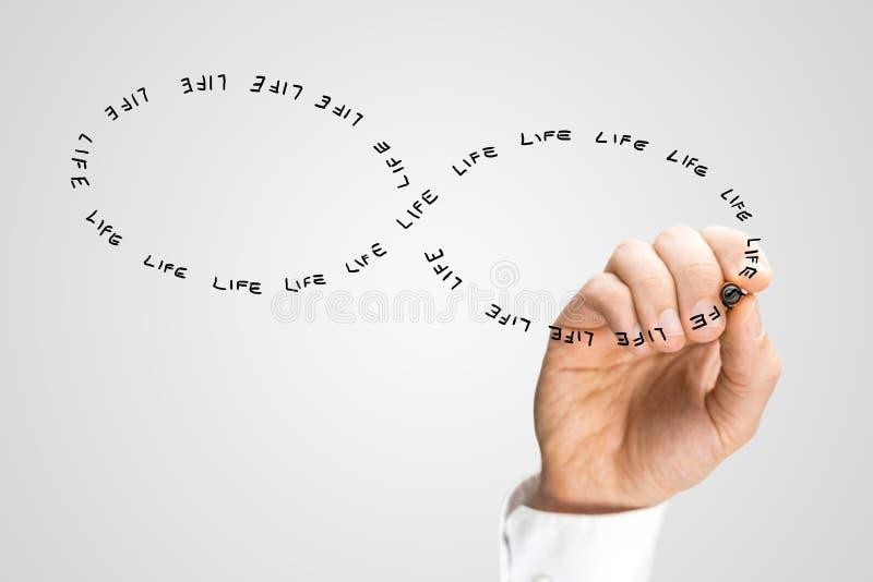 Hand die het Word Leven in Figuur Acht Vorm schrijven stock foto