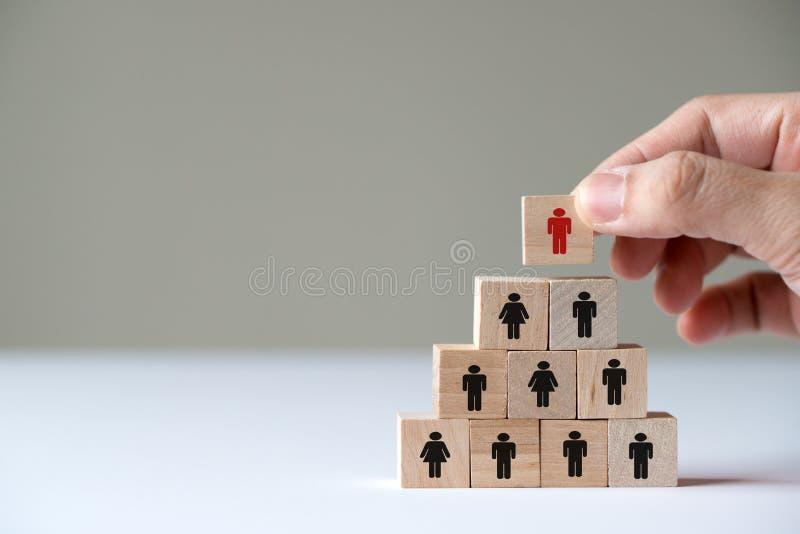 Hand die houten kubusblok op hoogste piramide voor leidingsconcept zet stock afbeelding