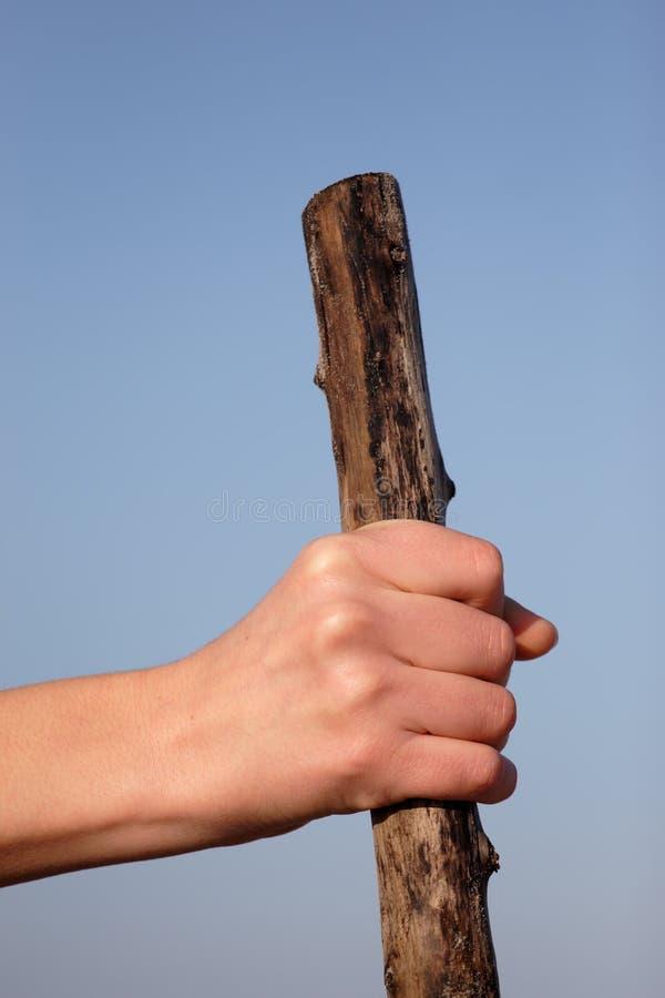 Hand die houten stok houdt royalty-vrije stock afbeelding