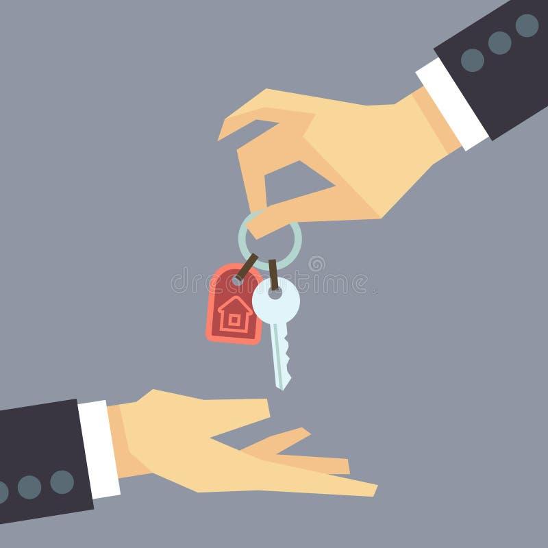 Hand die huissleutels geven vector onroerende goederen, het kopen huisconcept stock illustratie